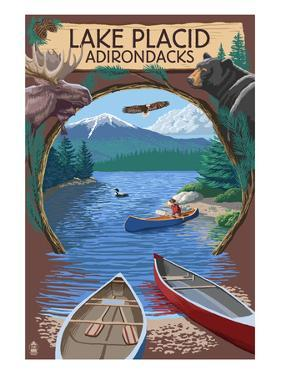 Lake Placid, New York - Adirondacks Canoe Scene by Lantern Press
