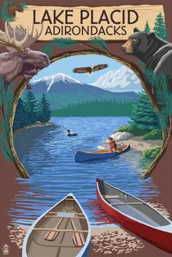 Lake Placid, New York - Adirondacks Canoe Scene by Lantern Press