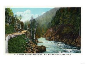Lake Placid, New York - Hwy View of Ausable River near Wilmington Notch by Lantern Press