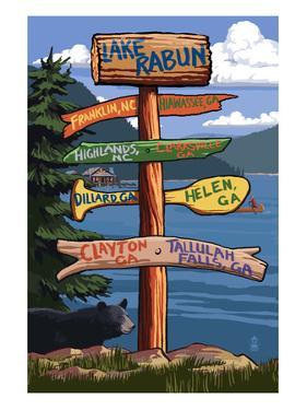Lake Rabun, Georgia - Sign Destinations by Lantern Press