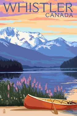 Lake Scene and Canoe - Whistler, Canada by Lantern Press