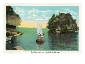 Lake Superior, Wisconsin - Apostle Islands, Gem Island Scene by Lantern Press
