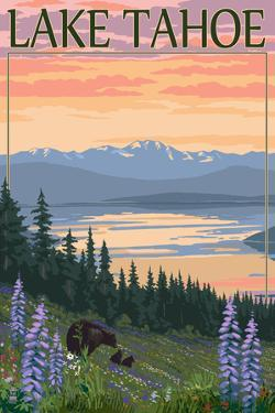 Lake Tahoe - Bear Family and Spring Flowers by Lantern Press