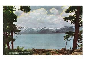 Lake Tahoe, California - Glenbrook, Lake View Through the Pines by Lantern Press
