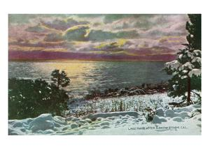 Lake Tahoe, California - Lake after a Snow Storm by Lantern Press