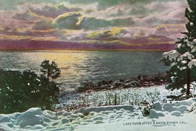 Lake Tahoe, California - Lake after a Snow Storm