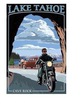 Lake Tahoe, California - Motorcycle Scene by Lantern Press