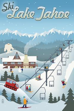 Lake Tahoe, California - Retro Ski Resort by Lantern Press