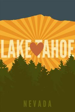 Lake Tahoe, Nevada - Heart and Mountains by Lantern Press