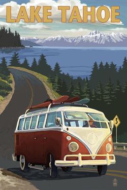 Lake Tahoe - VW Van and Lake by Lantern Press