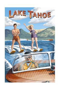 Lake Tahoe - Water Skiing Scene by Lantern Press