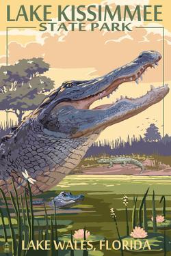Lake Wales, Florida - Alligator Scene by Lantern Press