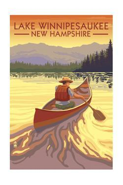 Lake Winnipesaukee, New Hampshire - Canoe Sunset by Lantern Press