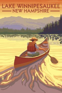 Lake Winnipesaukee, New Hampshire - Canoe Sunset by Lantern Press