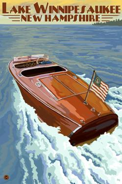 Lake Winnipesaukee, New Hampshire - Chris Craft Boat by Lantern Press