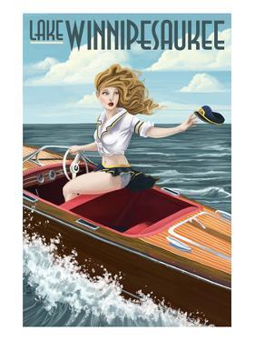 Lake Winnipesaukee, New Hampshire - Pinup Girl Boating by Lantern Press