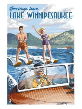 Lake Winnipesaukee, New Hampshire - Water Skiing Scene by Lantern Press