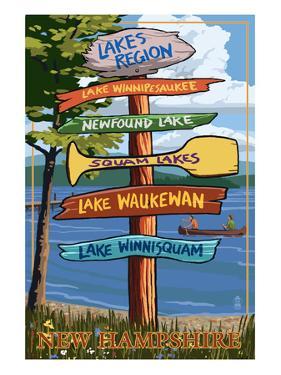 Lakes Region, New Hampshire - Destination Sign by Lantern Press