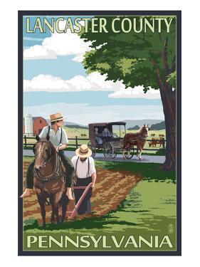 Lancaster County, Pennsylvania - Amish Farm Scene by Lantern Press