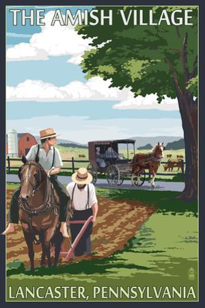 Lancaster County, Pennsylvania - Farm Scene - Barn Raising Scene
