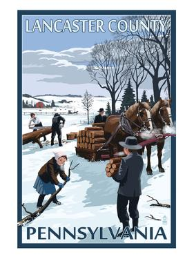 Lancaster County, Pennsylvania - Firewood Winter Scene by Lantern Press