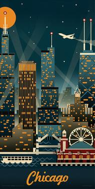 Lantern Press- Chicago Retro Skyline by Lantern Press