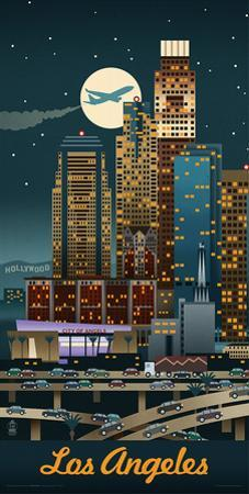 Lantern Press- Los Angeles Retro Skyline by Lantern Press