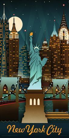 Lantern Press- New York Retro Skyline by Lantern Press
