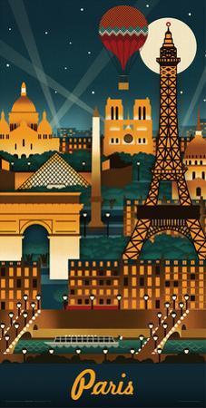 Lantern Press- Paris Retro Skyline