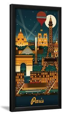 Lantern Press- Paris Retro Skyline by Lantern Press