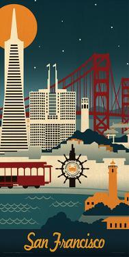 Lantern Press- San Francisco Retro Skyline by Lantern Press