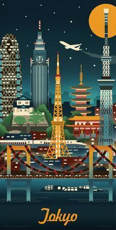 Lantern Press- Tokyo Retro Skyline by Lantern Press