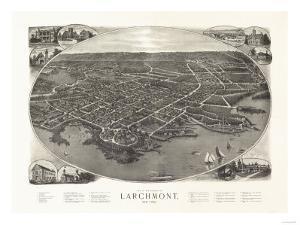 Larchmont, New York - Panoramic Map by Lantern Press
