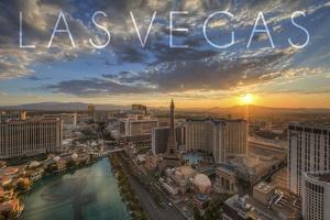 Las Vegas, Nevada - Aerial View at Sunset by Lantern Press