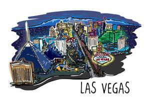 Las Vegas, Nevada - Cityscape - Line Drawing by Lantern Press