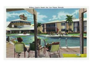 Las Vegas, Nevada, Exterior View of Wilbur Clark's Desert Inn and Swimming Pool by Lantern Press