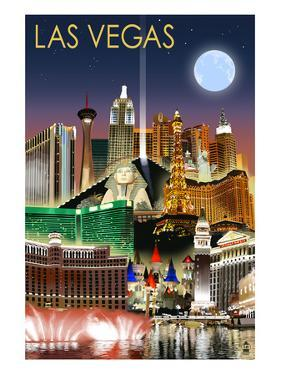 Las Vegas, Nevada - Las Vegas at Night by Lantern Press