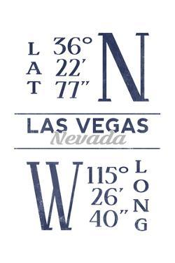 Las Vegas, Nevada - Latitude and Longitude (Blue) by Lantern Press