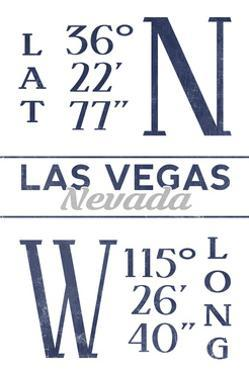 Las Vegas, Nevada - Latitude and Longitude (Blue) by Lantern Press