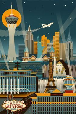 Las Vegas, Nevada - Retro Skyline (no text) by Lantern Press