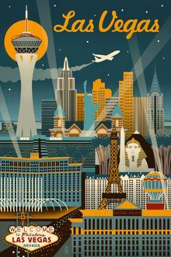 Las Vegas, Nevada - Retro Skyline by Lantern Press