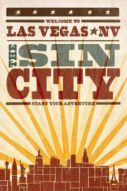 Las Vegas, Nevada - Skyline and Sunburst Screenprint Style by Lantern Press