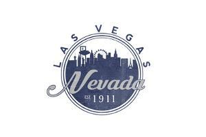 Las Vegas, Nevada - Skyline Seal (Blue) by Lantern Press