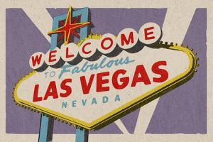 Las Vegas, Nevada - Welcome Sign Woodblock by Lantern Press