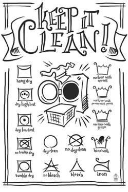 Laundry Symbols (White) by Lantern Press