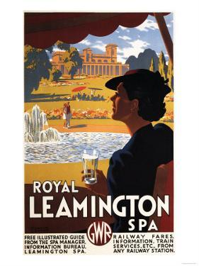 Leamington, England - Royal Spa, Woman Drinking Water Rail Poster by Lantern Press