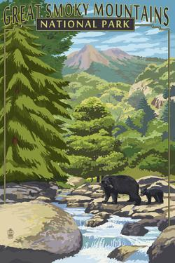 Leconte Creek and Bear Family - Great Smoky Mountains National Park, TN by Lantern Press