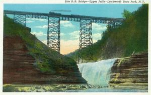 Letchworth State Park, New York - View of Erie Railroad Train on Bridge by Upper Falls by Lantern Press