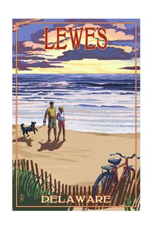 Lewes, Delaware - Beach and Sunset by Lantern Press