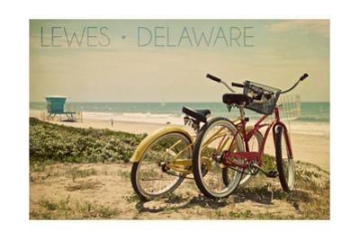 Lewes, Delaware - Bicycles and Beach Scene